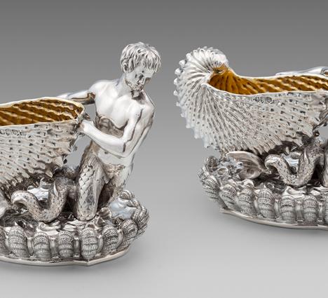 A Pair George IV of Figural Shell Salt Cellars