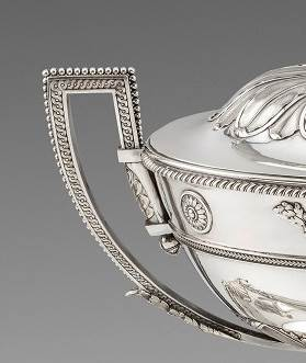 An English Soup Tureen, Cover and Stand of American Interest