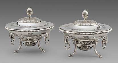 A Pair of Louis XVI French Dishes on Stands