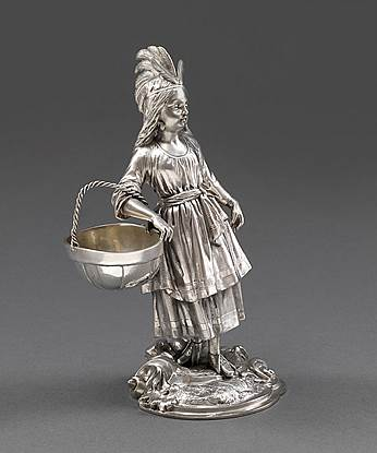 A Victorian 'Indian Squaw' Figural Salt Cellar