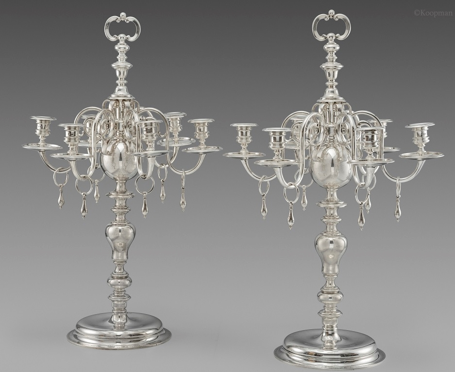 A Pair of George V Six-Light Candelabra