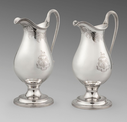A Rare Pair of Bright-Cut Jugs
