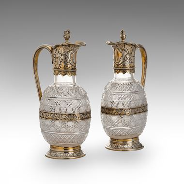 A Pair of Cut-Glass-Mounted Spirit Decanters