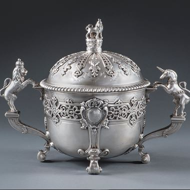 A Royal Christening Gift of George II to his Goddaughter Lady Emilia Lennox - Christening Bowl & Cover