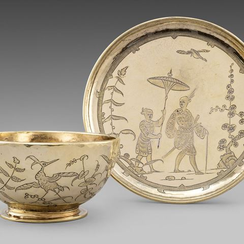 silver tea cup chinoiserie gilt gold antique silver rare London saucer Charles ii early silver-gilt best rarest gold chinese English