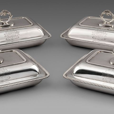 antique silver dish entree vegetable centrepiece tableware George III  sterling English Paul storr Georgian regency vintage paulstorr London