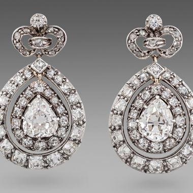 Pair of Victorian Diamond Earrings