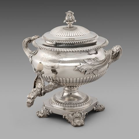 antique silver tea urn teaset centrepiece tableware George III  sterling English Paul storr Georgian regency vintage paulstorr London