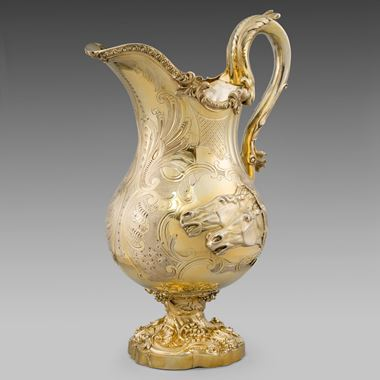 A Silver-Gilt Ewer with Horses