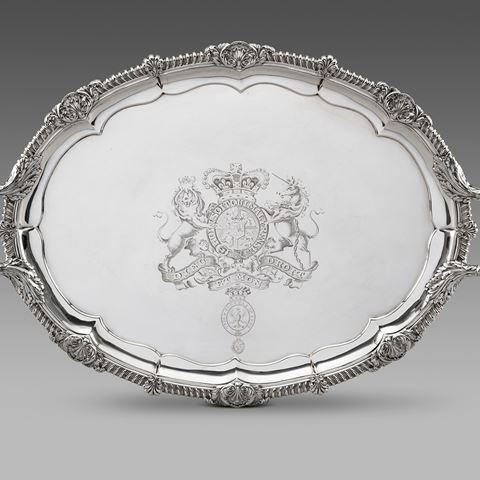antique silver silverware tray royal platter centrepiece tableware George III  sterling English Paul storr Georgian regency vintage paulstorr London