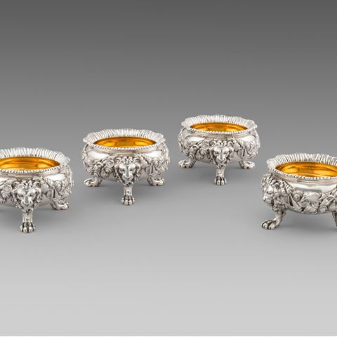 antique silver silverware salt cellars tableware George III  sterling English Paul storr Georgian regency vintage paulstorr London