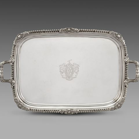 antique silver silverware tray platter tableware George III  sterling English Paul storr Georgian regency vintage paulstorr London