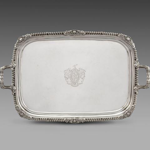 antique silver silverware tray platter tableware George III  sterling English Paul storr Georgian regency vintage paulstorr London