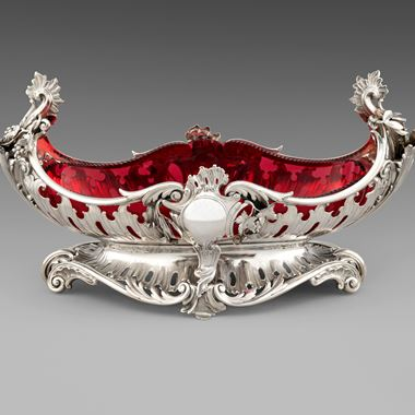 A Ruby Glass-Lined Centrepiece