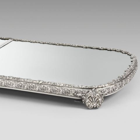 antique silver silverware plateau mirror tableware George III  sterling English Paul storr Georgian regency vintage paulstorr London