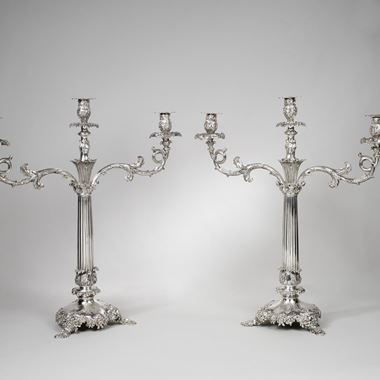 A Pair of Fluted Foliate Two-Light Candelabra