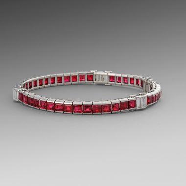 A Sleek Art Deco Ruby and Diamond Bracelet