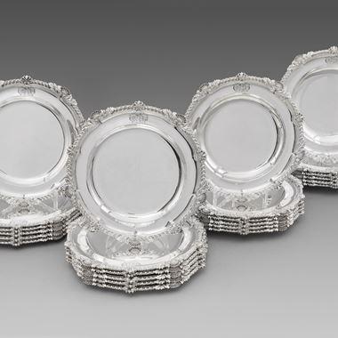 A Rare Set of Twelve Soup Plates and Twelve Dinner Plates