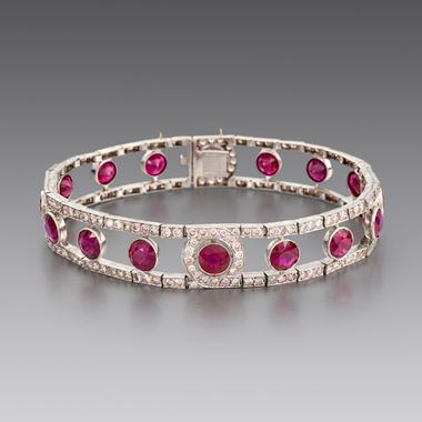 A Fine Ruby and Diamond Bracelet
