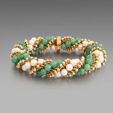 Aventurine quartz and cultured pearl bracelet, 'Twist'