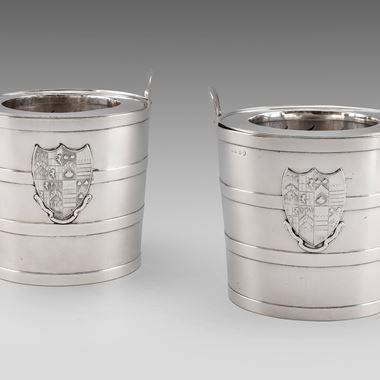 An Elegant Pair of Bucket Wine Coolers