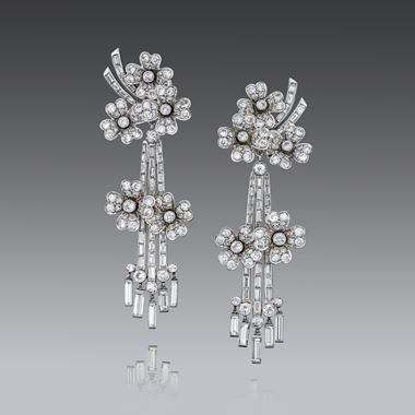 An Opulent Pair of Mid-Century Diamond Pendent Ear Clips