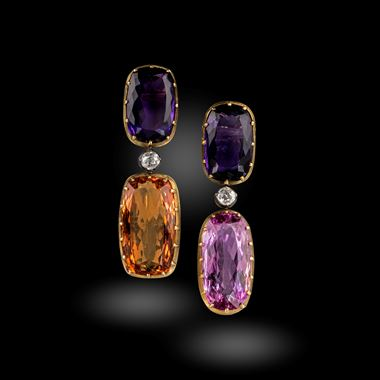 A Pair of Amethyst, Topaz and Diamond Earrings