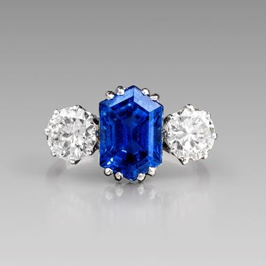 An Art Deco Sapphire and Diamond Ring, Circa 1930