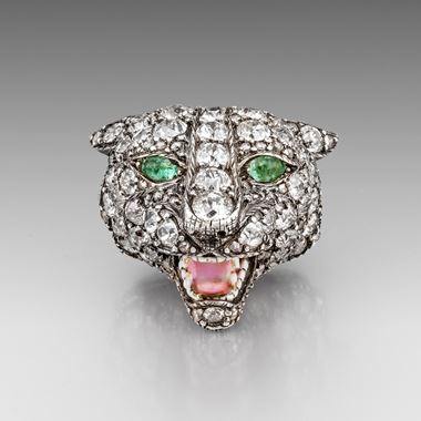 A Superb Victorian Diamond, Emerald and Enamel Lioness Brooch