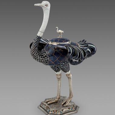 A Rare Silver, Enamel & Lapis Lazuli Ostrich