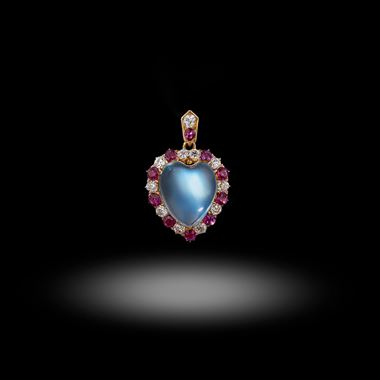 A Late Victorian Moonstone, Ruby and Diamond Pendant Circa 1900