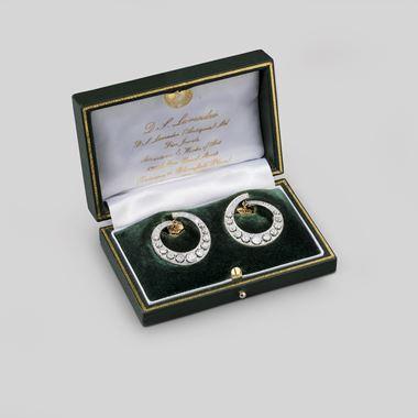 A Pair of Platinum and Diamond Hoop Earrings, circa 1920