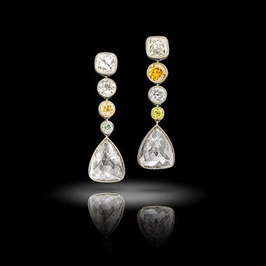 Pair of Diamond and Coloured Diamond Earrings