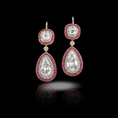 An Important Pair of Early 20th Century Ruby and Diamond Earrings