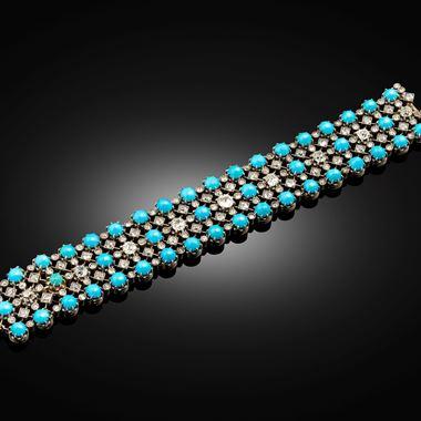 A 19th century turquoise and diamond strap bracelet, circa 1850