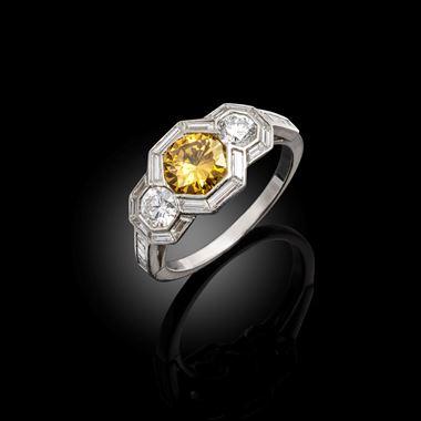 A Mid Century Art Deco-style Brownish-Yellow Diamond Ring