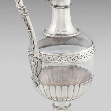 A Rare Form Glass Mounted Claret Jug