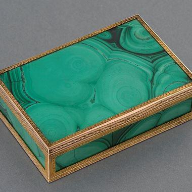 A Rare Gold, Malachite & Moss Agate Box