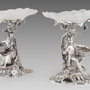An Elegant Pair of Figural Comports