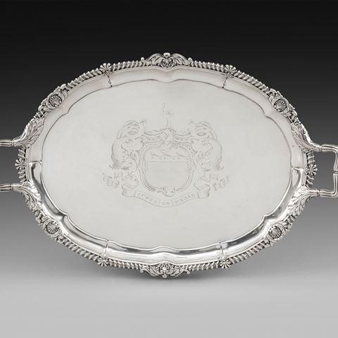 antique silver tray Paul storr Georgian regency  London