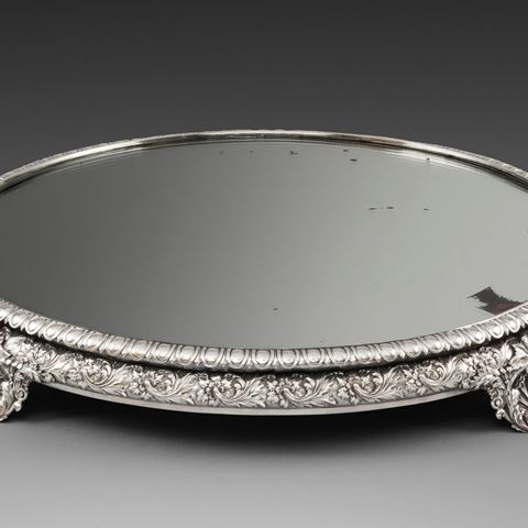 Paul storr mirror plateau antique silver London Georgian regency